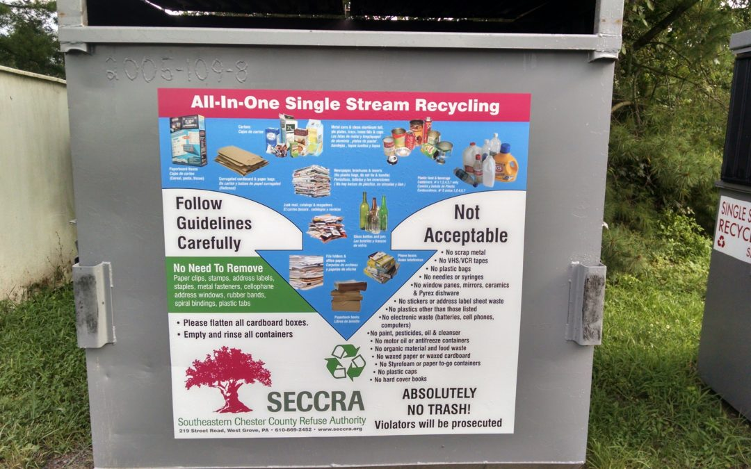 West Grove, PA – Custom Vinyl Graphics on Recycling Containers for the SECCRA