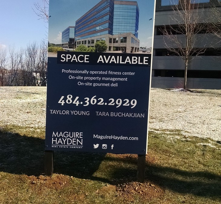 Custom Graphic Real Estate Sign in Conshohocken, PA Helps Tenants Find Room to Expand