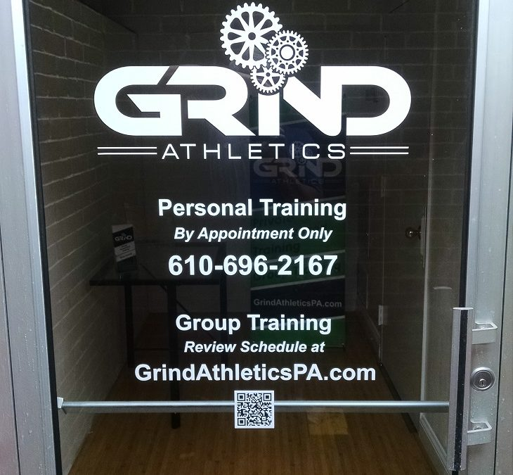 Custom Window Graphics at New Location in West Chester, PA for Local Gym Grind Athletics